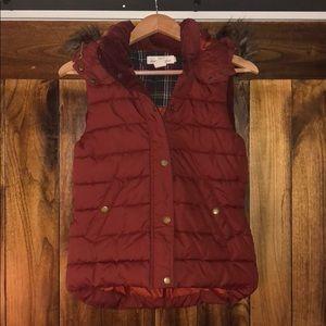 Brick red puffer vest